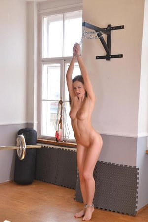 Gym Indignity - Dark-haired Subjugated Receives Slapping